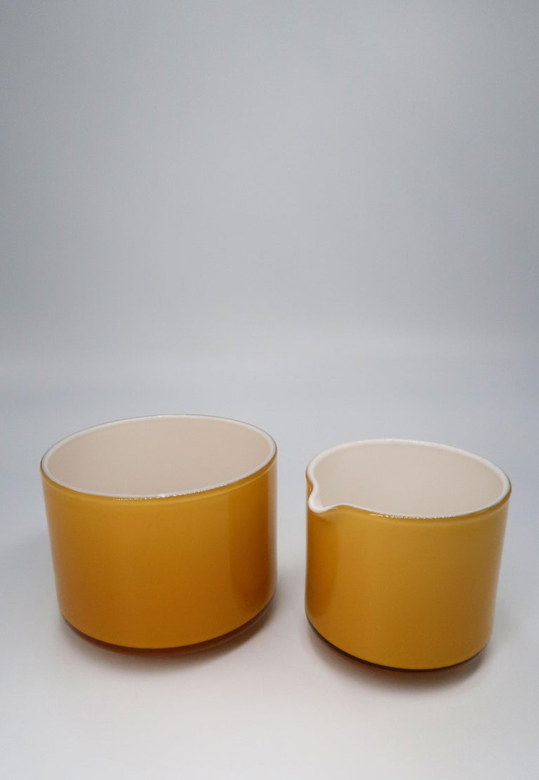 Late 20th Century Michael Bang for Danish Holmegaard Glass Sugar Bowl and Creamer Set, 1970 For Sale
