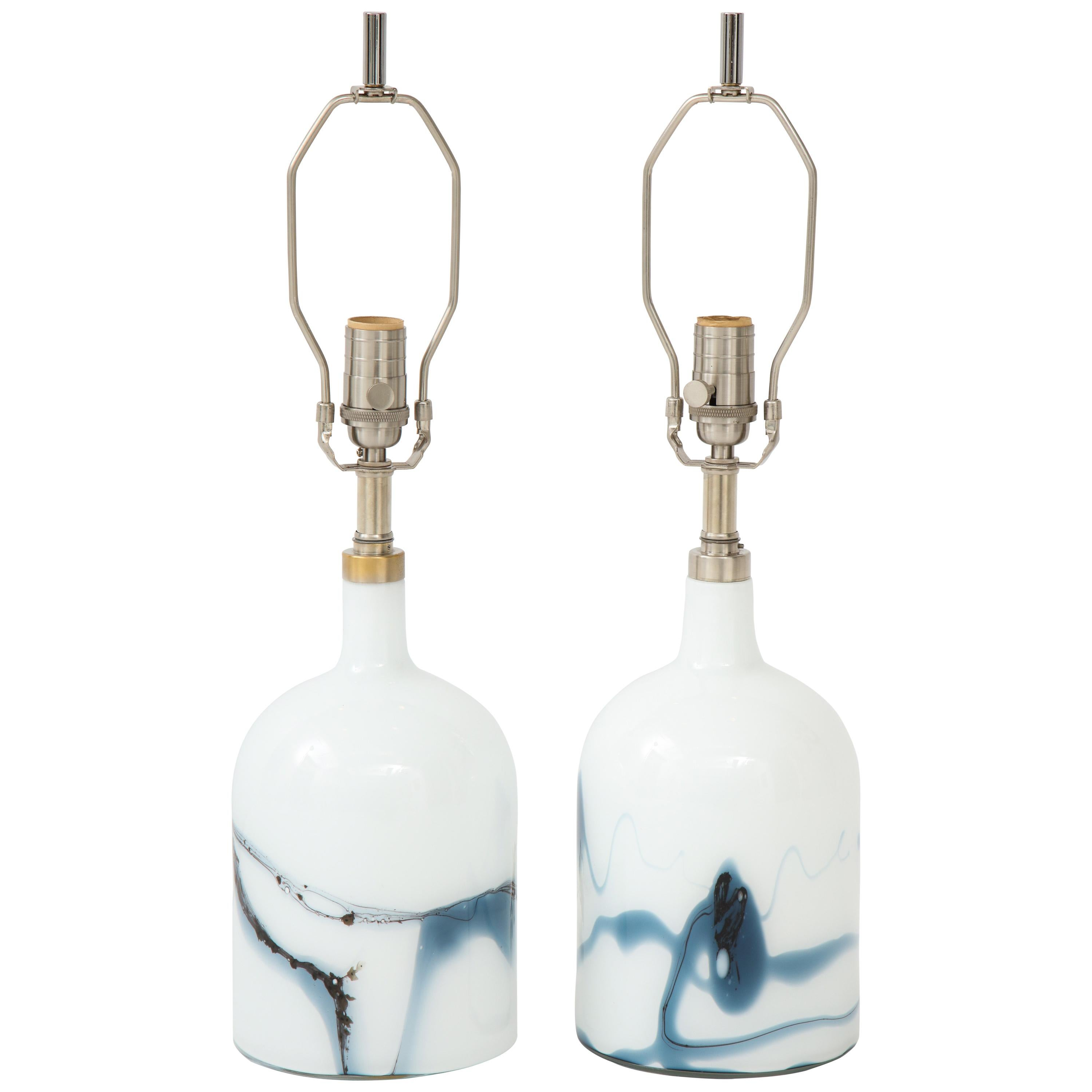 Michael Bang for Holmegaard Petrol Blue, White Glass Lamps