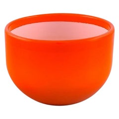 "Michael Bang for Holmegaard, Large ""Palet"" Bowl in Orange and White Art Glass"