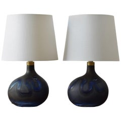Michael Bang for Holmegaard Pair of Dark Blue Sculptural Glass Table Lamps 1970s