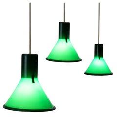 Michael Bang Set of Three Green Pendants for Holmegaard