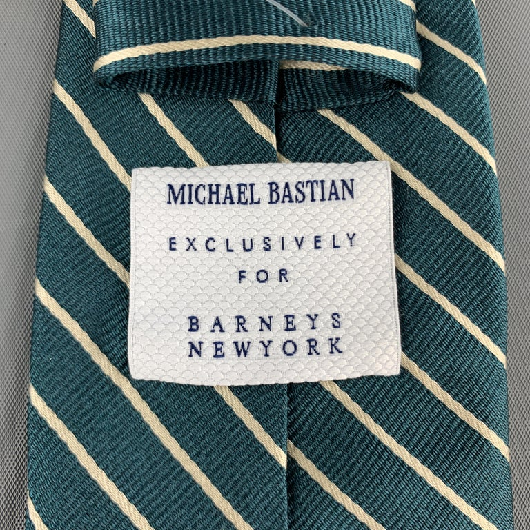 MICHAEL BASTIAN Green & White Diagonal Striped Silk Tie In Excellent Condition For Sale In San Francisco, CA