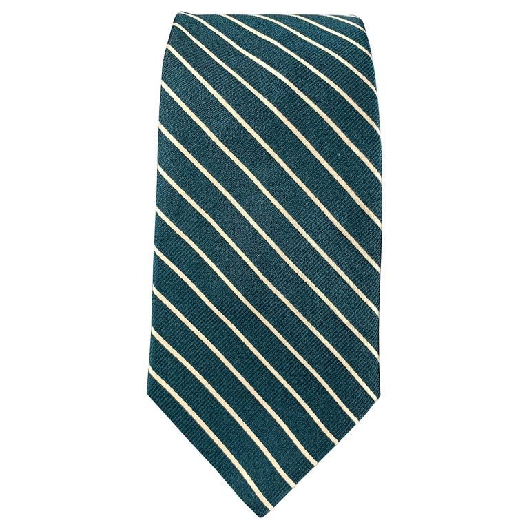 MICHAEL BASTIAN Green & White Diagonal Striped Silk Tie For Sale
