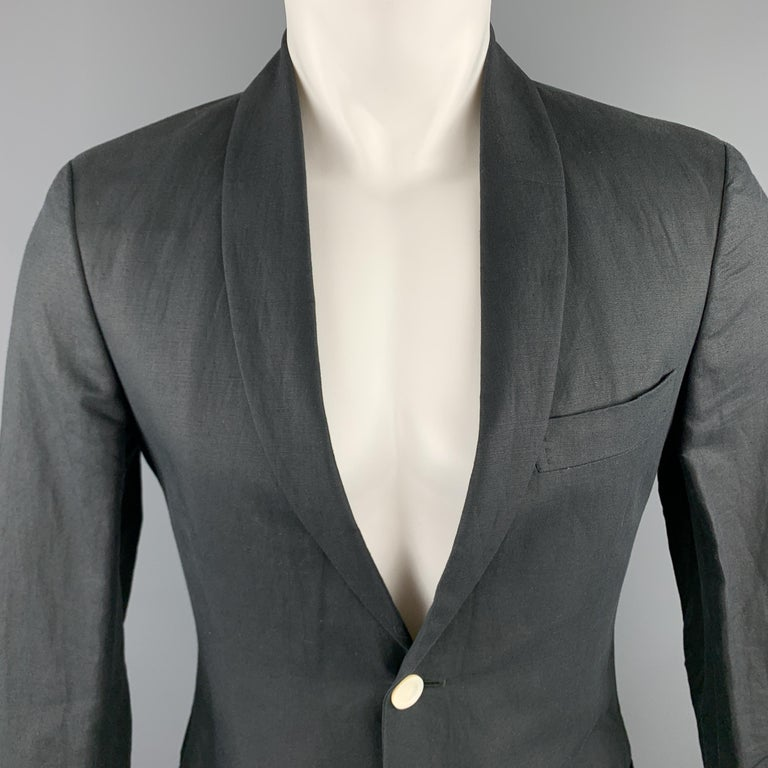 MICHAEL BASTIAN sport coat comes in navy linen with a shawl collar lapel, single breasted, one button front, and cotton lining. Made in Italy.  Excellent Pre-Owned Condition.  Marked: IT 36  Measurements:  Shoulder: 16.5 in. Chest: 36 in. Sleeve: 24