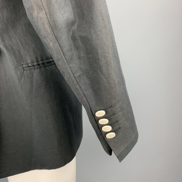 Black MICHAEL BASTIAN Size 36 Navy Linen / Cotton Shawl Collar Sport Coat For Sale