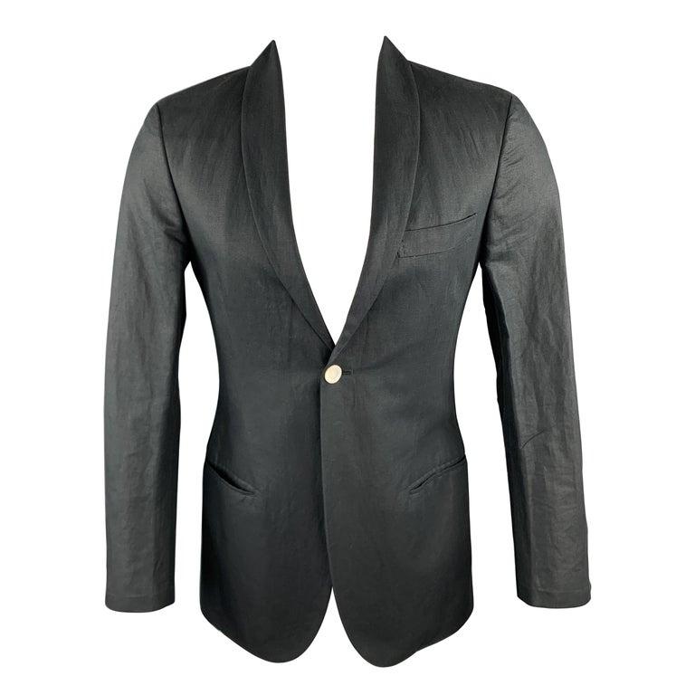 MICHAEL BASTIAN Size 36 Navy Linen / Cotton Shawl Collar Sport Coat For Sale
