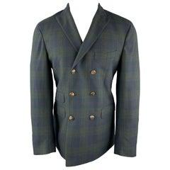 MICHAEL BASTIAN Size 40 Navy & Green Plaid Wool Peak Lapel Double Breasted Sport