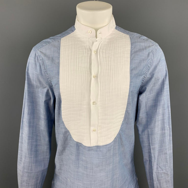 MICHAEL BASTIAN long sleeve shirt comes in a blue cotton with a white pleated panel chest detail featuring a nehru collar and a half button closure. Made in Italy.  Very Good Pre-Owned Condition. Marked: 16.5/42  Measurements:  Shoulder: 19