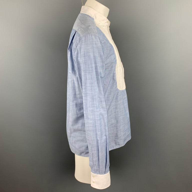 Gray MICHAEL BASTIAN Size L Blue & White Pleated Cotton Long Sleeve Shirt For Sale
