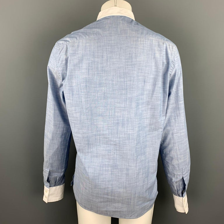 MICHAEL BASTIAN Size L Blue & White Pleated Cotton Long Sleeve Shirt In Good Condition For Sale In San Francisco, CA