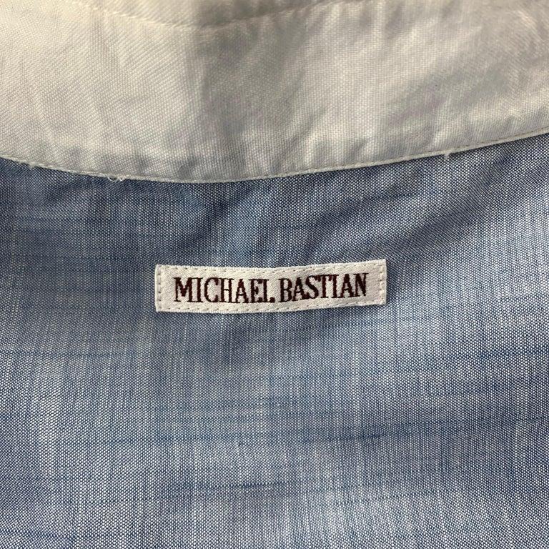 Women's MICHAEL BASTIAN Size L Blue & White Pleated Cotton Long Sleeve Shirt For Sale