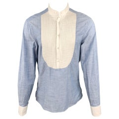 MICHAEL BASTIAN Size L Blue & White Pleated Cotton Long Sleeve Shirt