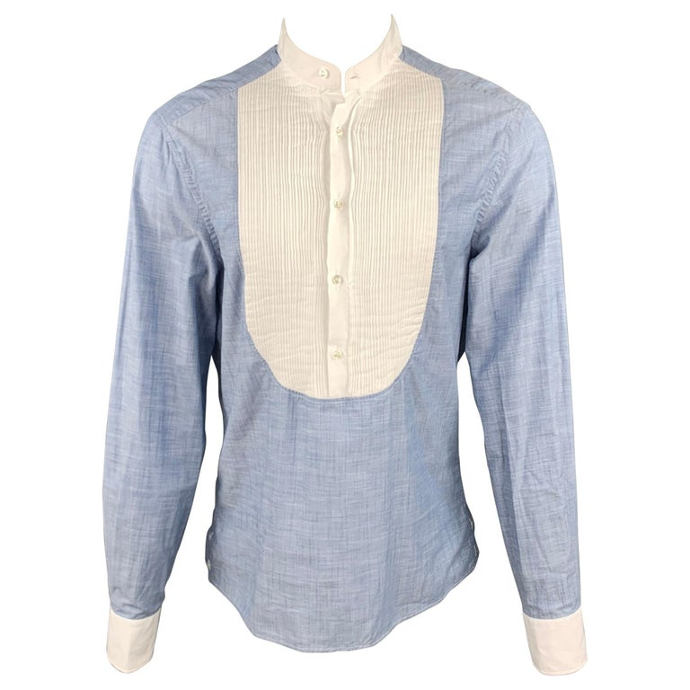 MICHAEL BASTIAN Size L Blue & White Pleated Cotton Long Sleeve Shirt For Sale