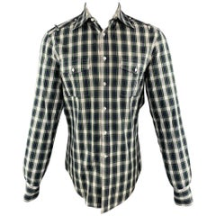 MICHAEL BASTIAN Size M Navy & White Plaid Cotton Button Up Long Sleeve Shirt