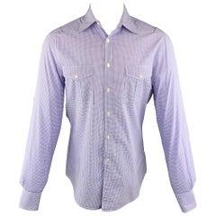 MICHAEL BASTIAN Size M Purple Checkered Cotton Button Up Long Sleeve Shirt