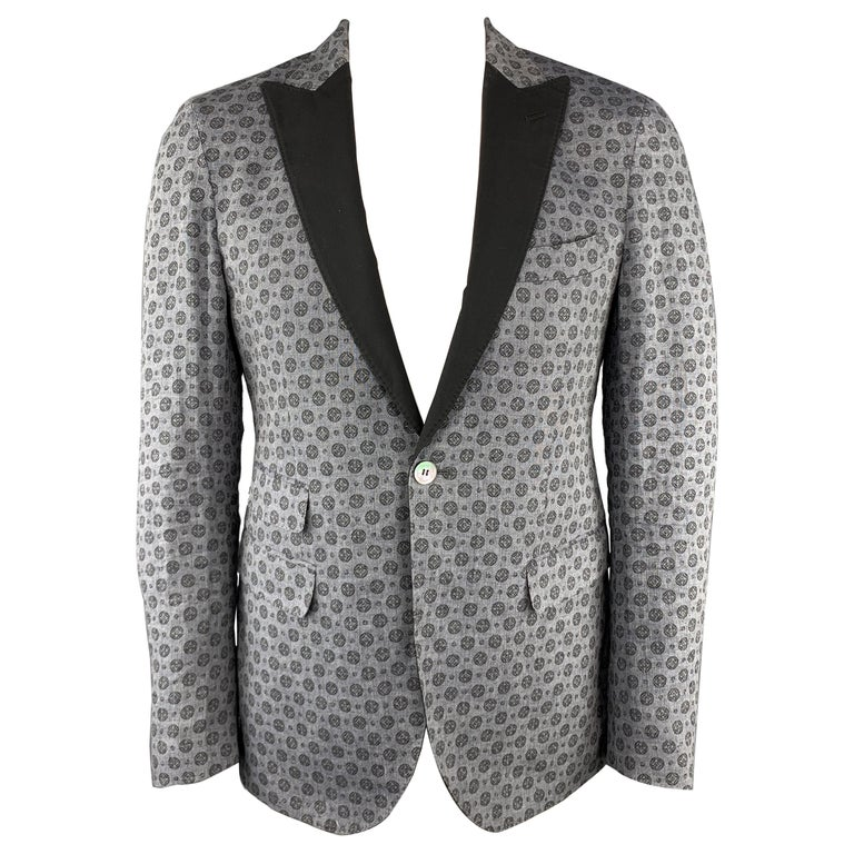 MICHAEL BASTIAN Size US 40 / EU 50 Grey Print Linen Peak Lapel Sport Coat For Sale