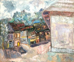 """Colorful Mexican Village Scene"" Expressionistic Oil Painting on Board"