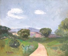 """Countryside Landscape Hills Scene with Path"" Expressionistic Style Oil Painting"