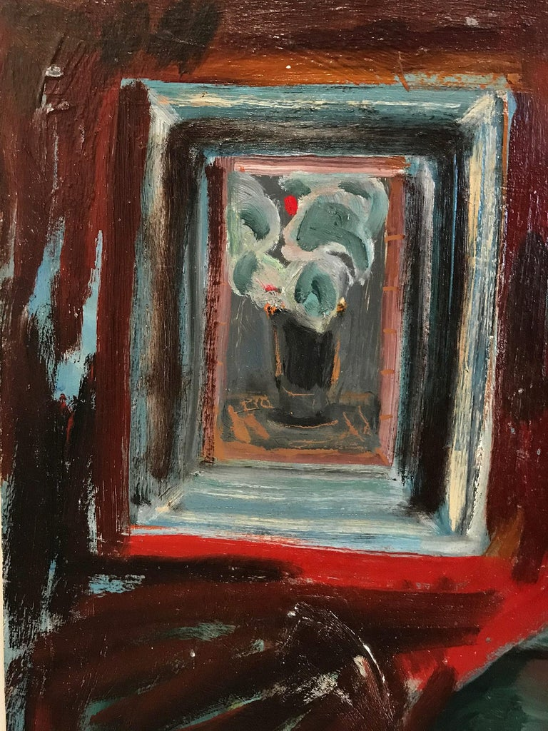 A strong modernist oil painting depicted in 1969 by Russian painter Michael Baxte. Mostly known for his abstracted figures on canvas or street scenes, this piece is a wonderful representation of his bold still life paintings, with expressive use of