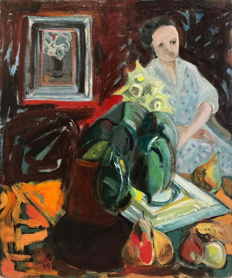 """Michael Baxte Figurative Painting - """"Interior Scene with Figure"""" Expressionistic Style Oil Painting on Board"""