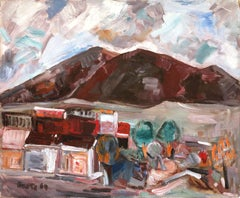 """Landscape of a Village Near Mountains"" Expressionistic Oil Painting on Board"