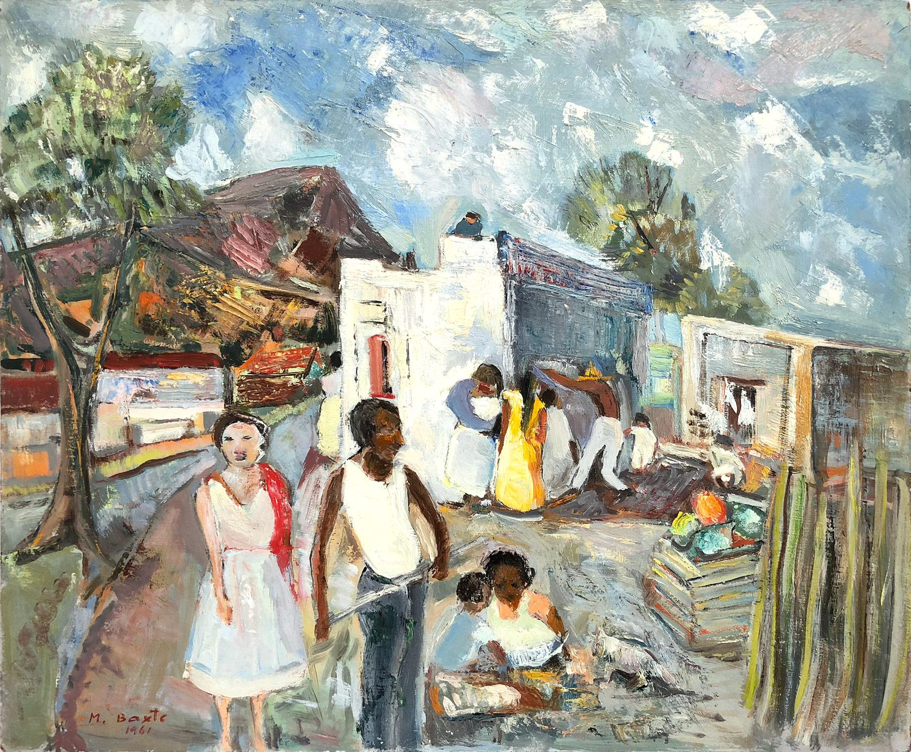 """""""Landscape Scene of Villagers in Mexico"""" Expressionistic Oil Painting on Board"""