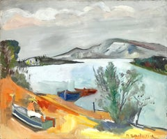 """Landscape Scene with Fisherman by Lake"" Expressionistic Oil Painting on Board"