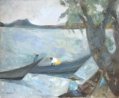 """Pescadores"" Expressionistic Style Mexican Scene by the Water with Fishermen"