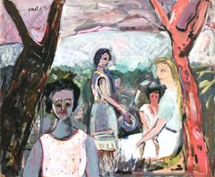 """Mexican Landscape Scene with Female Figures and Child"" Expressionistic Style"