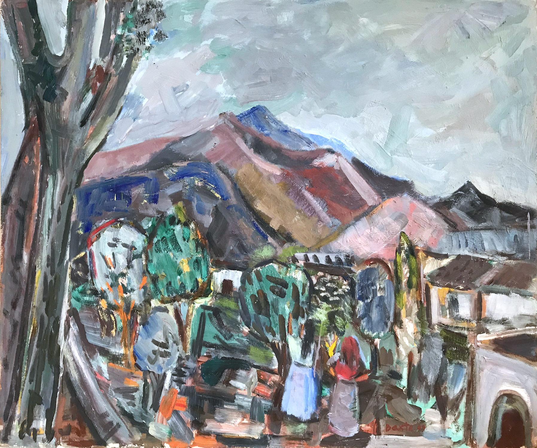 """""""Mexican Outdoor Scene with Figures"""" Expressionistic Style Oil Painting on Board"""