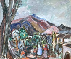 """Mexican Outdoor Scene with Figures"" Expressionistic Style Oil Painting on Board"