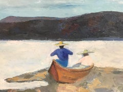 Mexican Landscape Water Scene with Figures and Boat, Expressionistic Style