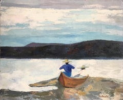 """""""Mexican Landscape Water Scene with Figures and Boat"""" Expressionistic Style"""