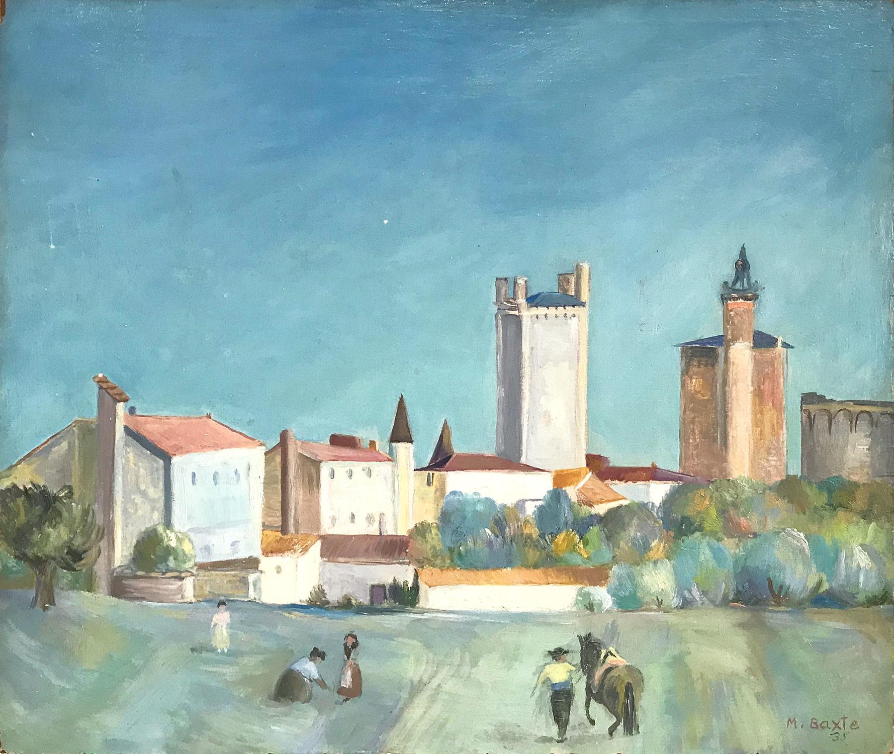 """European Village Landscape Scene"" Modernist Style Painting Oil on Board"