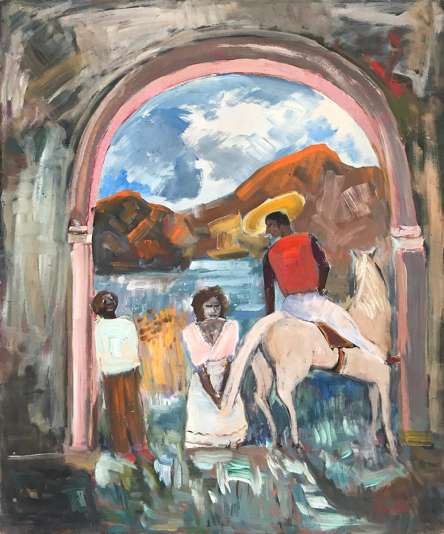 """""""Mexican Villagers Scene with Man on a Horse"""" Expressionistic Style Oil Painting"""