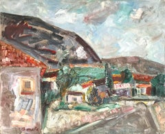 """Mexican Village Landscape Scene with Houses"" Expressionistic Style Oil Painting"