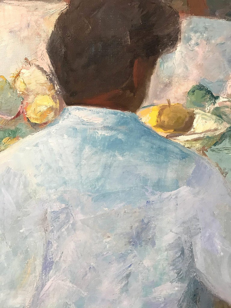 Mid Century Modern Oil Painting of Artist Painting Still Life - Gray Landscape Painting by Michael Baxte
