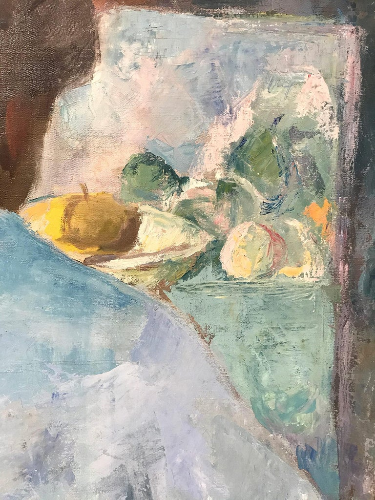 A strong modernist oil painting depicted in the Mid Centruy by Russian painter Michael Baxte. Mostly known for his abstracted figures on canvas or street scenes, this piece is a wonderful representation of his interior scenes with expressive use of