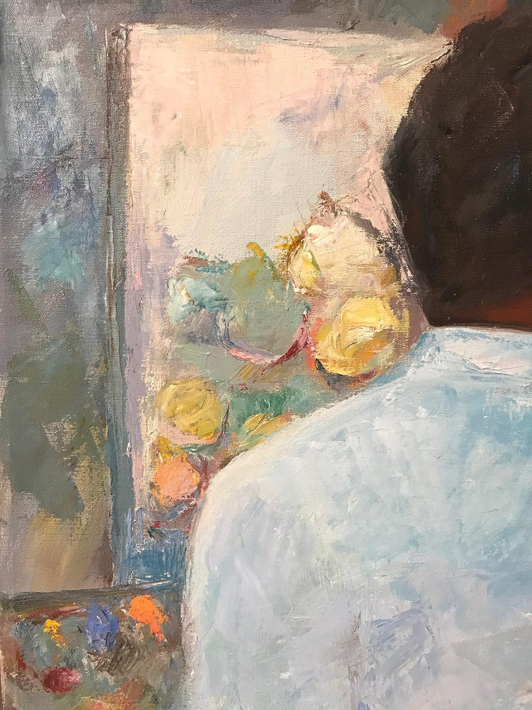 Mid Century Modern Oil Painting of Artist Painting Still Life For Sale 1