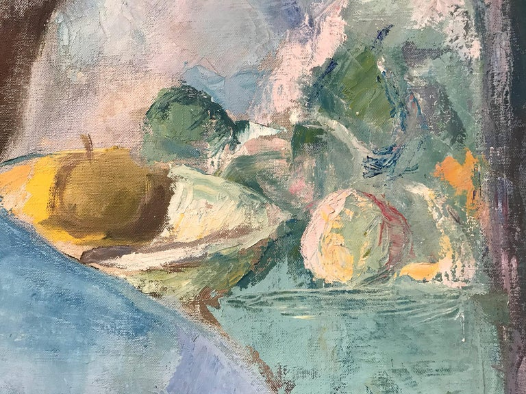 Mid Century Modern Oil Painting of Artist Painting Still Life For Sale 6