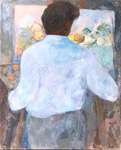 Mid Century Modern Oil Painting of Artist Painting Still Life