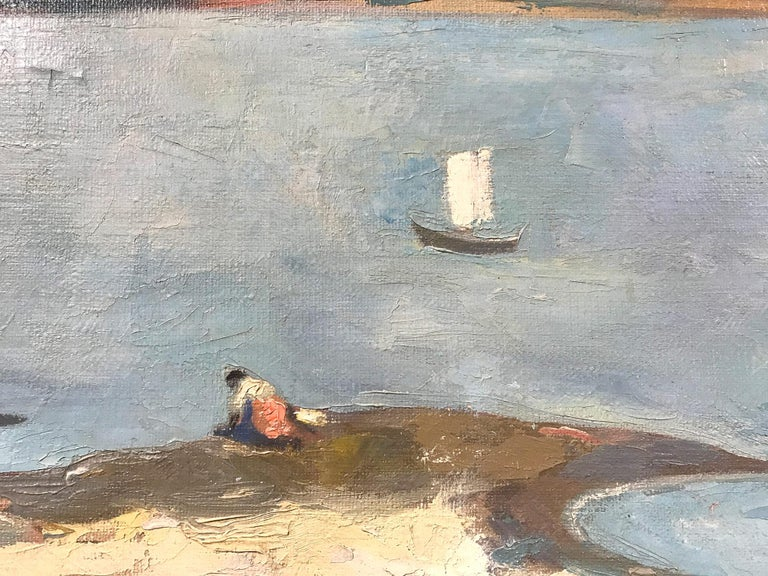 Mid Century Modern Oil Painting of Lake with Puffed Clouds and Sailboat & Figure - Gray Landscape Painting by Michael Baxte