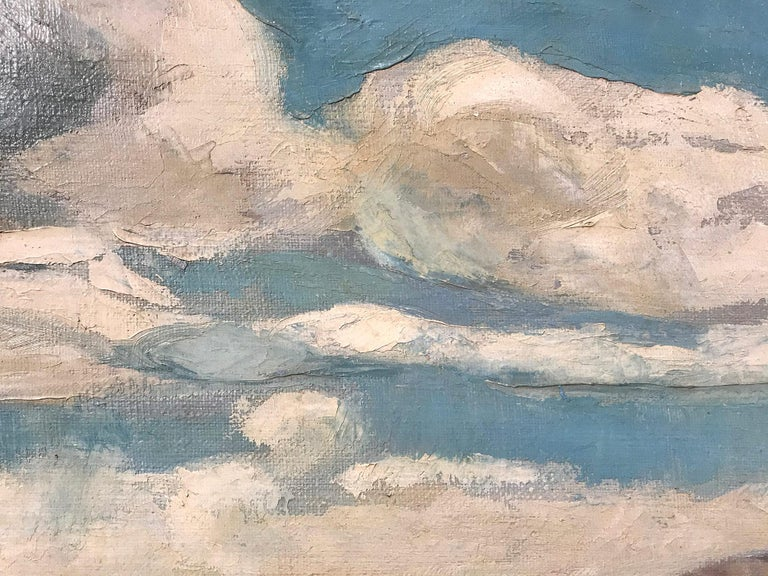 Mid Century Modern Oil Painting of Lake with Puffed Clouds and Sailboat & Figure 1