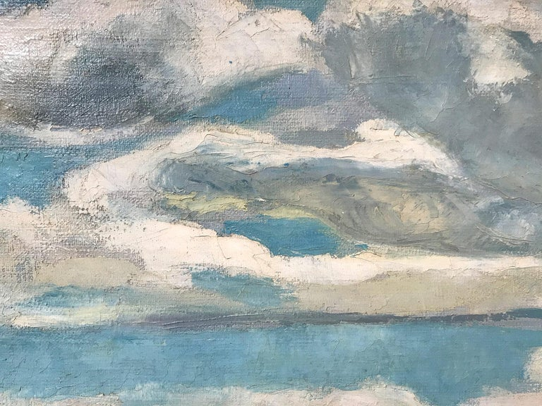 Mid Century Modern Oil Painting of Lake with Puffed Clouds and Sailboat & Figure 3