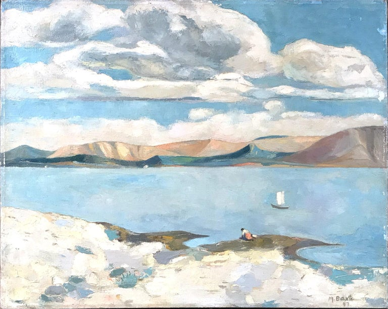 Mid Century Modern Oil Painting of Lake with Puffed Clouds and Sailboat & Figure 5
