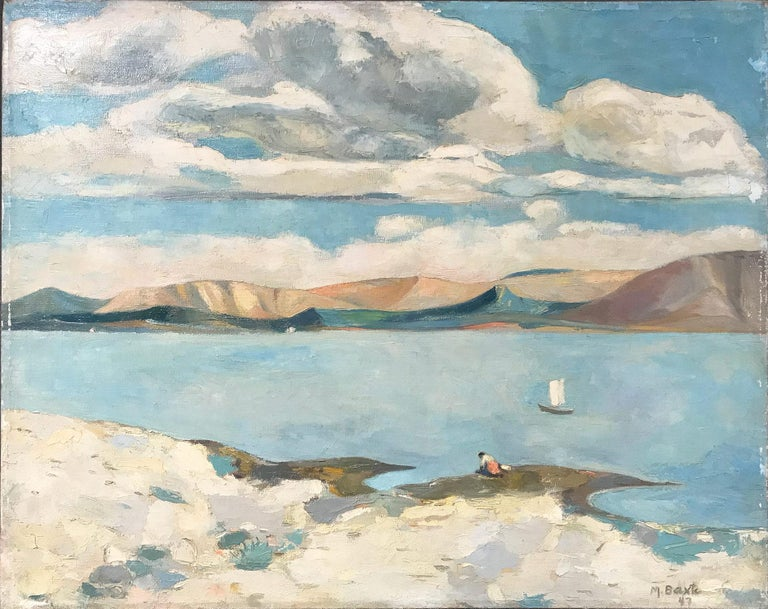 Michael Baxte Landscape Painting - Mid Century Modern Oil Painting of Lake with Puffed Clouds and Sailboat & Figure