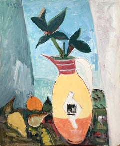 """""""Modernist Still Life with Vase and Fruits"""" Expressionistic Style Oil Painting"""