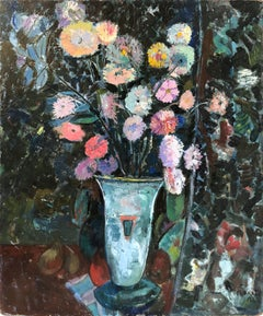 Still Life with Colorful Flowers in Vase