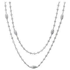 Michael Beaudry Platinum Necklace 80 Diamonds 5.50 Carat Argyle Station