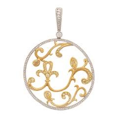 Michael Beaudry Colored Diamond Pendant Estate Platinum Large Round Jewelry